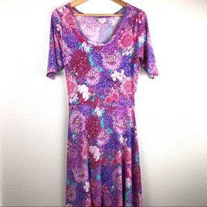 Lularoe Ana Maxi Pink Floral Dress